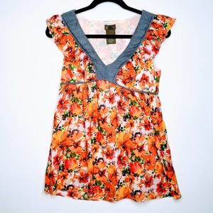 Anthropologie Fei Top Floral Ruffle Tank Orange